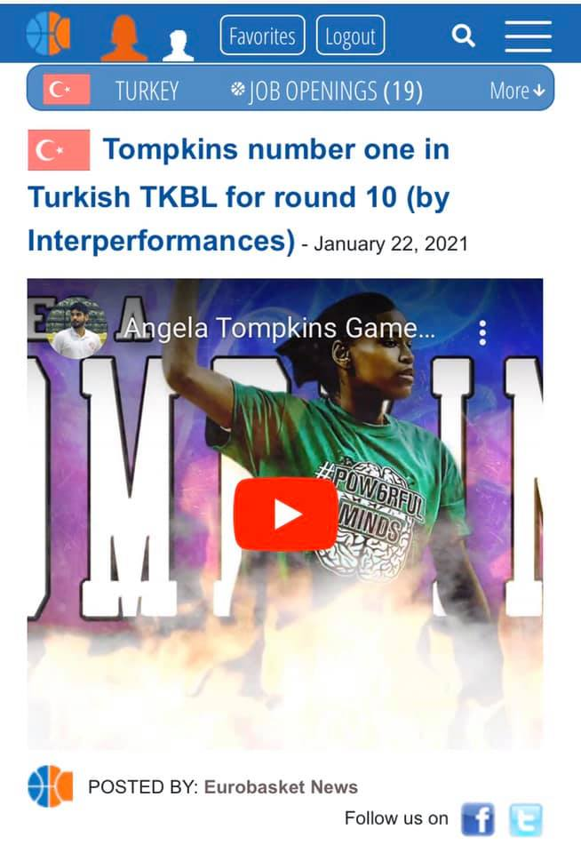 Angiee Tompkins is the Player of the week in Turkey!