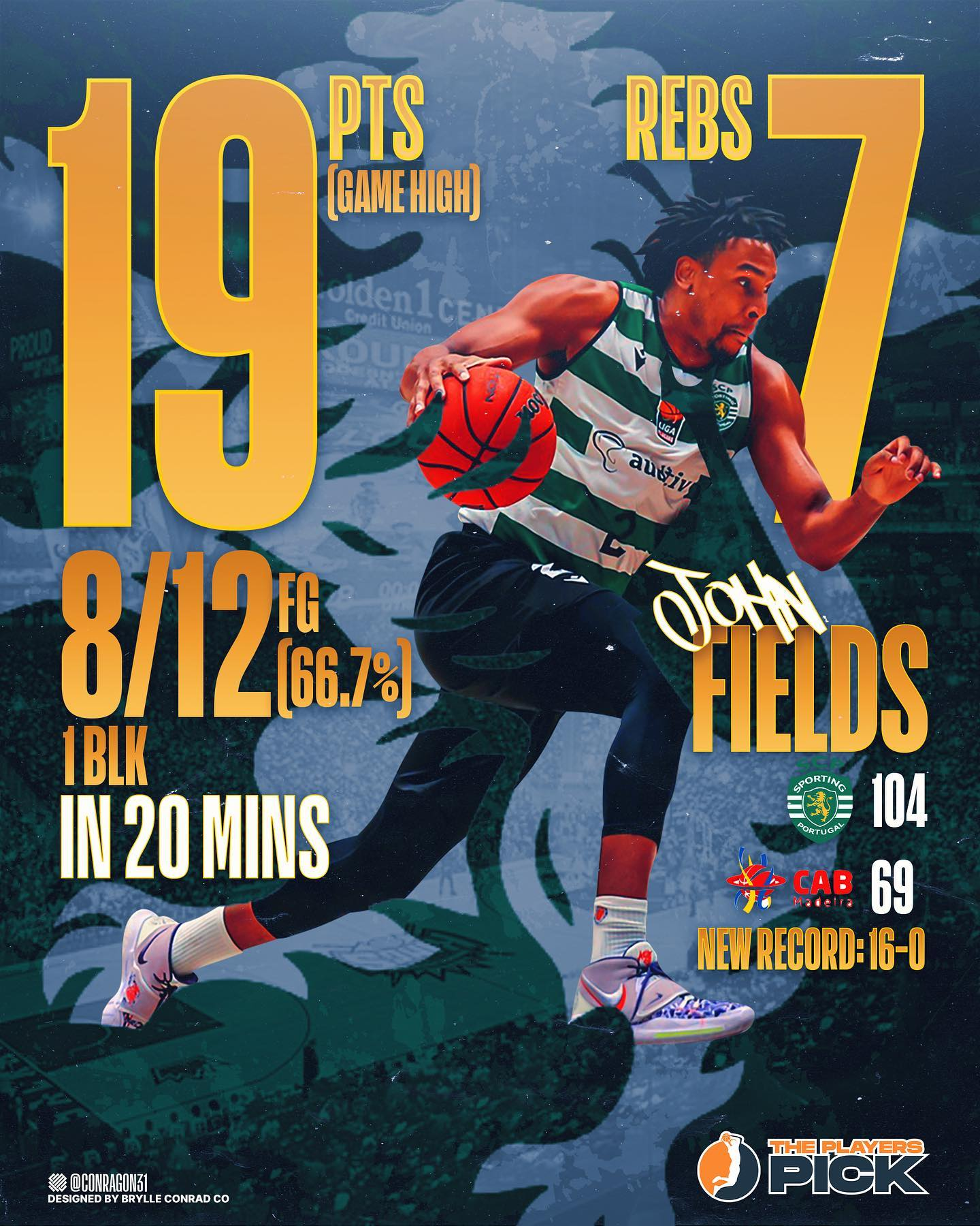 19 points & 7 rebounds in 20 minutes for MVP Fields in Portugal! 72.0% FG this season!