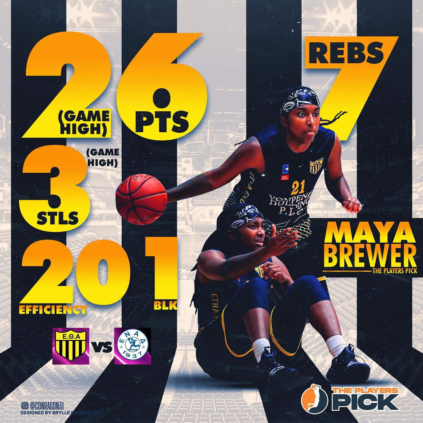 26 points & 7 rebounds for Brewer vs ENAD!