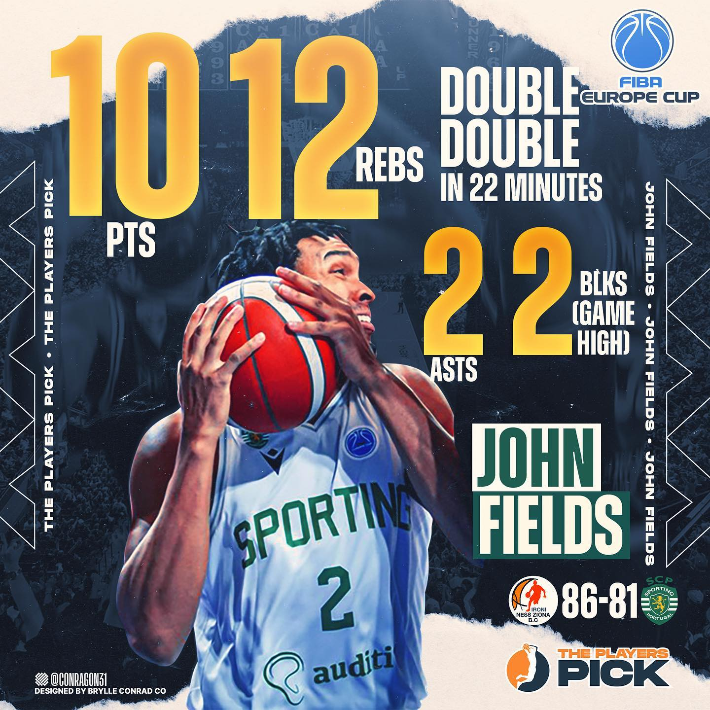 Fields recorded a double double vs Ironi Ness Ziona in FIBA Europe Cup!