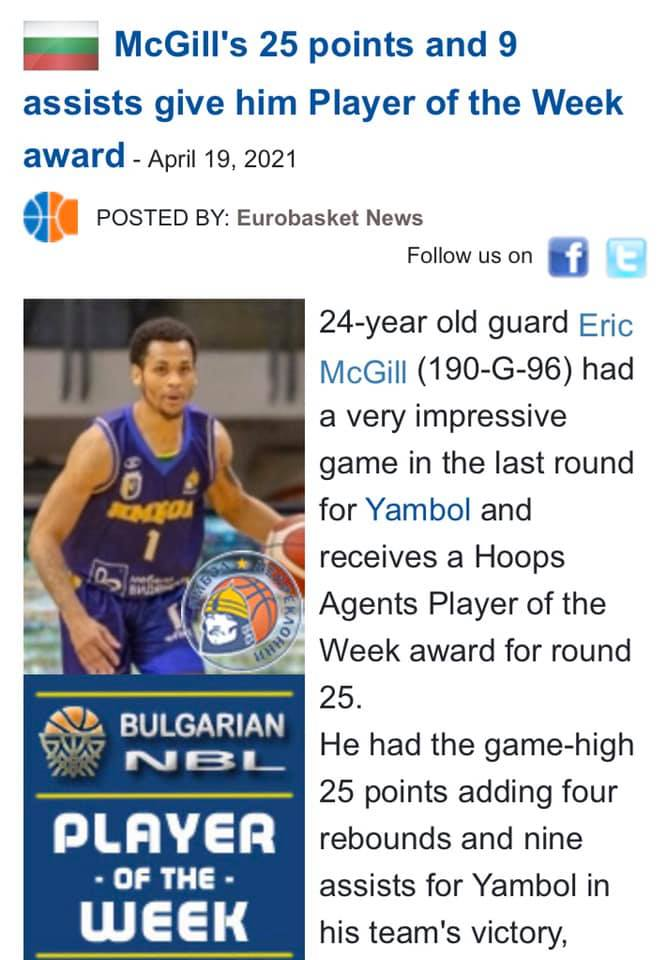 Eric McGill is The Player of the Week in NBL!