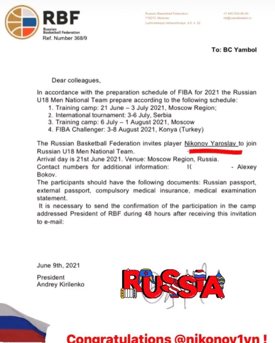 Yaroslav Nikonov named Russian National Team member!